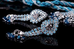 Blue Colored Diamond Necklace Set Royalty Free Stock Images
