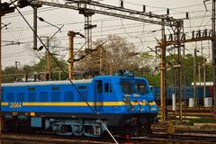 A blue colored electric rail engine of Indian Railway royalty free stock photos