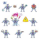 Blue robot advertising compilation. Blue colored funny robot advertiser Stock Images