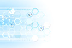 Blue colored hexagon technology background. Stock Image