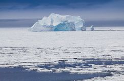 Deep blue colors of an iceberg.CR2. Blue colored iceberg in Antarctica Weddell Sea Stock Image