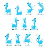 Blue Llama. Blue colored Llama character with 10 various expressions Stock Photography