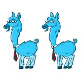 Blue Llama. Blue colored Llama character with 10 various expressions Royalty Free Stock Photography