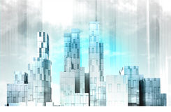 Blue colored modern cityscape panorama view wallpaper Stock Photos