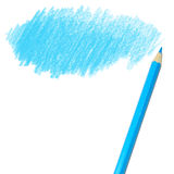 Blue colored pencil drawing. On a white background Royalty Free Stock Image