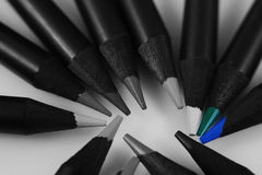 Blue colored pencils Stock Photography