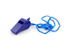 Blue colored plastic whistle Royalty Free Stock Photo