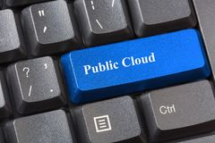 Blue colored Public Cloud button on black computer keyboard. Public cloud services offered by providers concept. Blue colored Public Cloud button on black royalty free stock photography