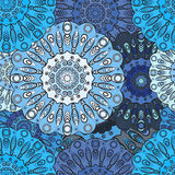 Blue colored seamless pattern with eastern floral orament. Floral oriental design in aztec, turkish, pakistan, indian Royalty Free Stock Image