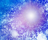 Blue colored snowy sunny sky background. Blue colored snowy sunny sky, background with dots and white circles and purple nebula and halo, sunny cold day and sky royalty free illustration