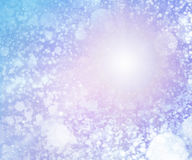 Blue colored snowy sunny sky background. Blue colored snowy sunny sky, background with dots and white circles and purple nebula and halo, sunny cold day and sky stock illustration