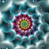 Rainbow blue spiral. Blue colored spiral with rainbow center Stock Photos