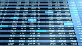 Blue colored stock market board moving animation stock footage
