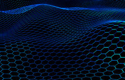 Blue Colored Surface with Protrusions, Honeycomb Pattern, 3D Render Stock Image