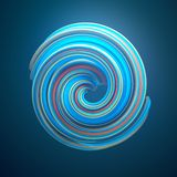 Blue colored twisted shape. 3D render illustration stock photos