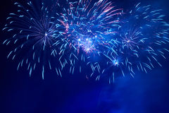 Blue colorful fireworks Royalty Free Stock Images