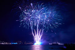 Blue colorful fireworks Royalty Free Stock Photo