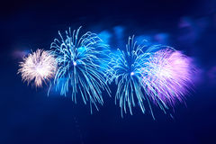 Blue colorful fireworks Stock Photos