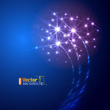Blue colorful fireworks on the black sky. Background Royalty Free Illustration