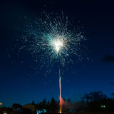 Blue colorful fireworks Stock Images