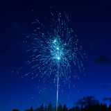 Blue colorful fireworks Stock Photography