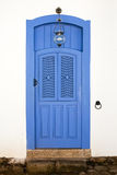 Blue colorful front house door in parati brazil Stock Photos