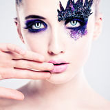 Blue Colorful Makeup. Fashion Woman with Art Makeup Eyes Royalty Free Stock Photo