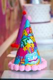 Blue and Colorful Party Hats for birthday royalty free stock images