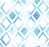 Blue colorful seamless illustration with geometric pattern, based on rhombus texture and watercolor hand drawn brush daub. Grainy. Large square illustration Royalty Free Stock Photography