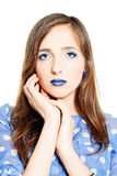 Blue Colors Portrait. Fashion Woman with Creative Makeup Royalty Free Stock Image