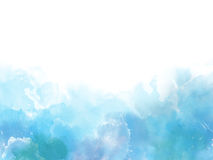 Blue colors Watercolor art border background Stock Photos