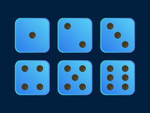 Blue colour illustration Dice for game Stock Image