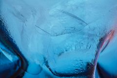 A blue colour ice texture look like under the sea royalty free stock photography