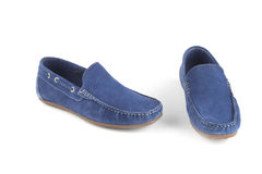 Blue colour leather shoes Stock Photography