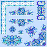 Blue colour set of paisley floral design elements for page decor. Ation, frame, corner, divider, circle snowflake, stripe pattern, vector illustration Stock Photography