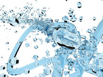 Blue colour water splash. Over white background Stock Images