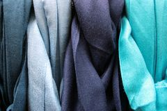 Blue Coloured Cotton Gradation. Coloured Cotton: Cloth, textures. Textile Industry Royalty Free Stock Images