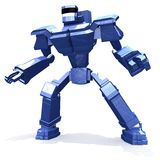 Blue combat robot. Stands on white background Stock Photos