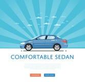 Blue comfortable sedan Stock Photo