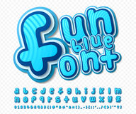 Blue comic font. Alphabet in style of comics, pop Royalty Free Stock Image