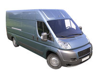 Blue commercial delivery van Stock Photos