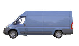 Blue commercial delivery van isolated royalty free stock photography