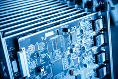 Blue communication circuit board closeup Stock Photo