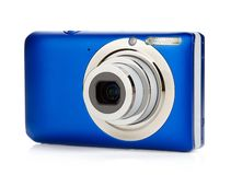 Blue compact camera royalty free stock photography