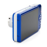 Blue compact camera. Rear view Royalty Free Stock Image