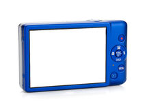 Blue compact camera. Rear view Royalty Free Stock Photo