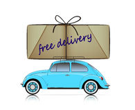Blue compact car with free delivery parcel Stock Photography