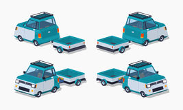 Blue compact car with the trailer Royalty Free Stock Photos