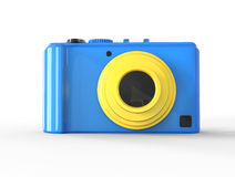Blue compact digital photo camera - front view Royalty Free Stock Image