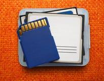 Blue compact memory cards Stock Photos